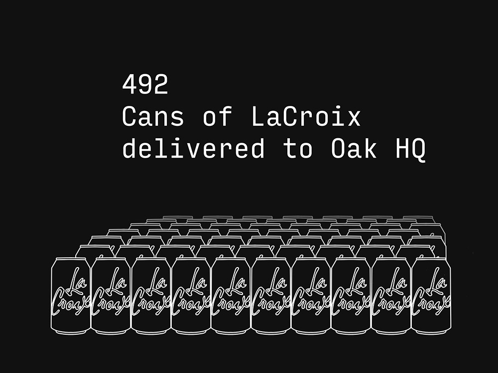 492 cans of LaCroix delivered to Oak HQ