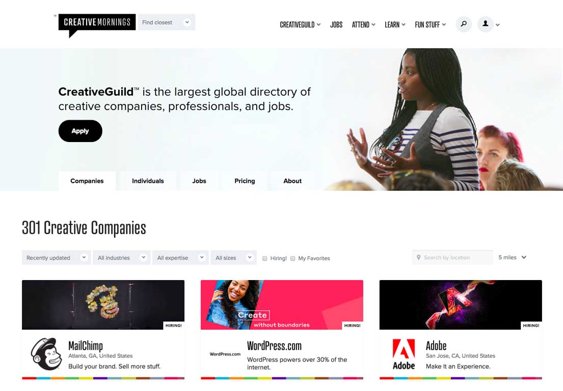 Image of CreativeGuild Company database. See more at https://creativemornings.com/companies