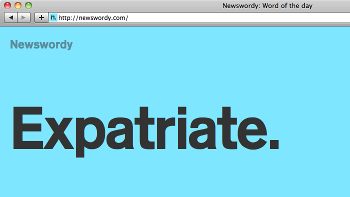Expatriate: word of the day with matching favicon