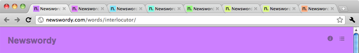 A Newswordy rainbow in Chrome tabs