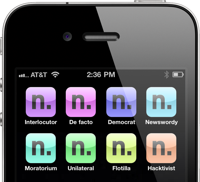 Colorful Newswordy icons on an iPhone (multiple iOS icons shown for illustrative purposes)