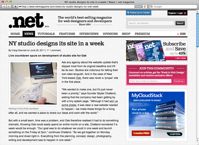 .net Magazine: NY studio designs its site in a week