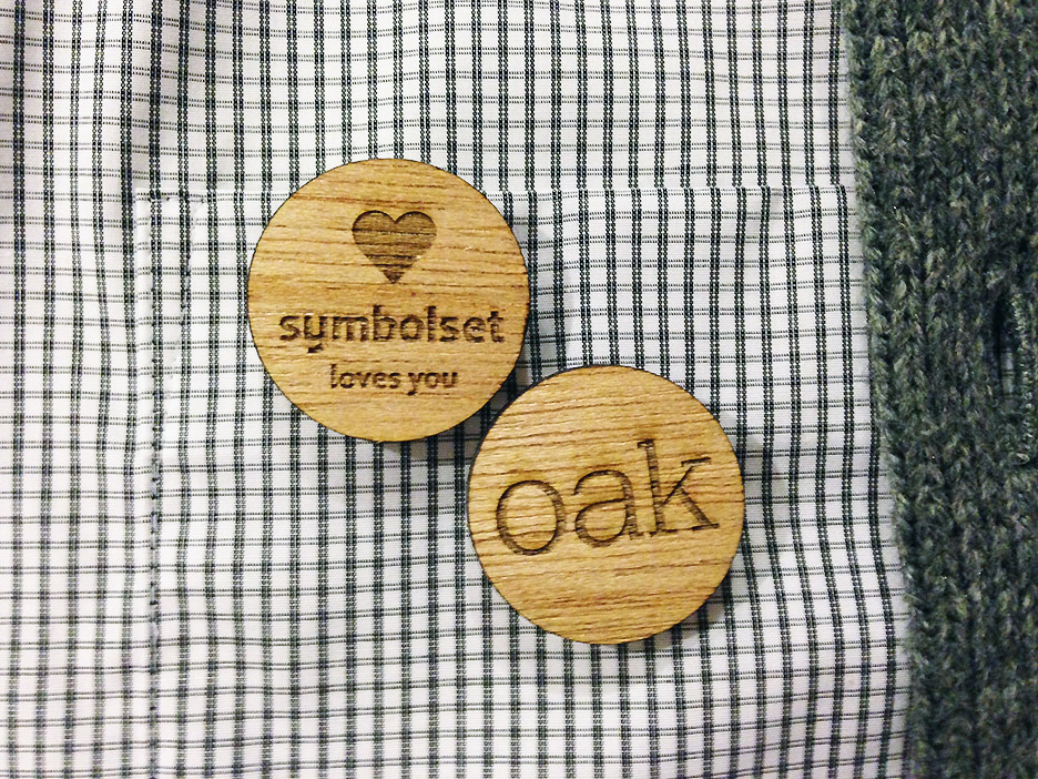Oak buttons, laser cut in oak