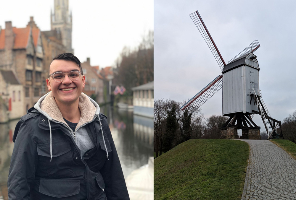 Alex in Bruges, and a super old windmill we weren't supposed to climb