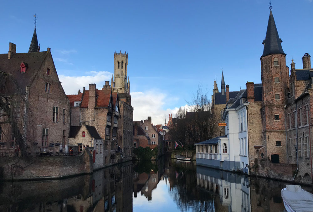 Overlooking the canals of Bruges