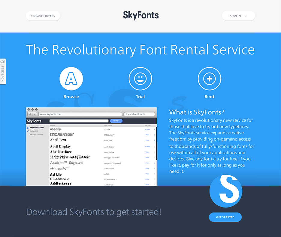 SkyFonts Homepage