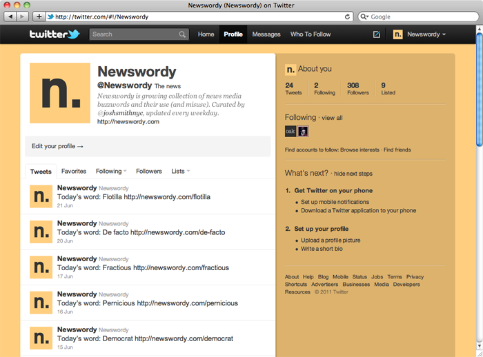 @Newswordy on Twitter in a lovely shade of certitude